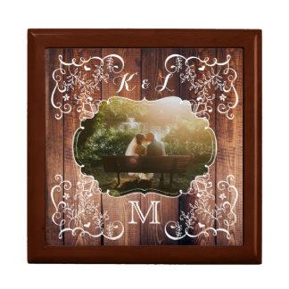 Joyero Monograma de madera del panel del arbolado de la