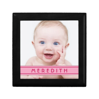 Joyero personalizado del nombre de la foto del beb