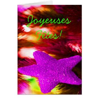 Joyeuses Fêtes y estrella púrpura del année del Tarjeta De Felicitación
