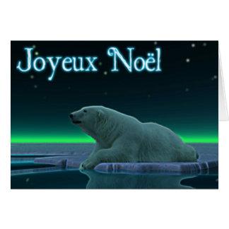Joyeux Noёl - oso polar del borde del hielo Tarjeta De Felicitación