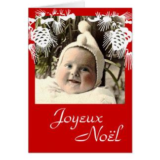 Joyeux Noël con el bebé del vintage Tarjeta De Felicitación