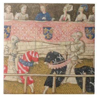 Juan Chalon de Inglaterra y Lois de Beul de Franci Azulejo Cuadrado Grande