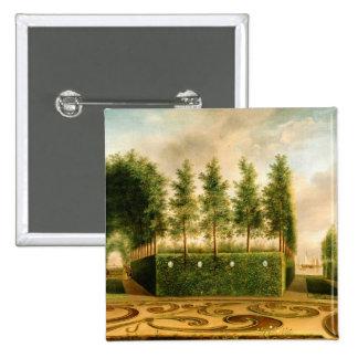 Juan Janson una pintura del vintage del jardín Chapa Cuadrada 5 Cm