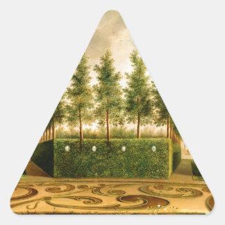 Juan Janson una pintura del vintage del jardín Pegatina Triangular