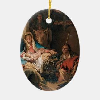 Juan Tiepolo- la adoración de los pastores Adorno Navideño Ovalado De Cerámica