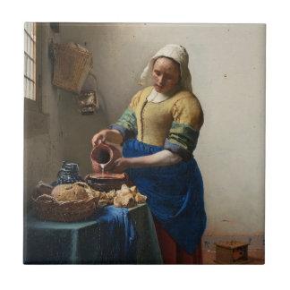 JUAN VERMEER - La lechera 1658 Azulejo Cuadrado Pequeño