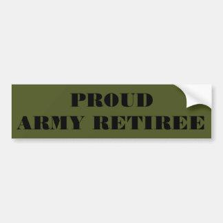 Jubilado orgulloso del ejército de la pegatina par pegatina para coche