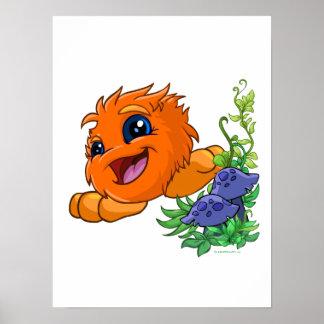 JubJub anaranjado feliz en la central de Neopia Póster