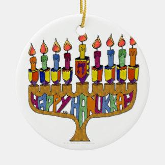 Judaica Jánuca feliz Dreidel Menorah Adorno De Navidad