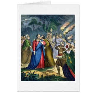Judas traiciona su amo, de una biblia impresa cerc tarjeta de felicitación