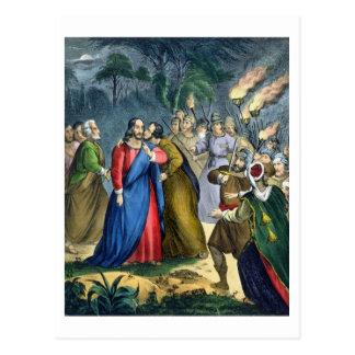 Judas traiciona su amo, de una biblia impresa cerc tarjeta postal