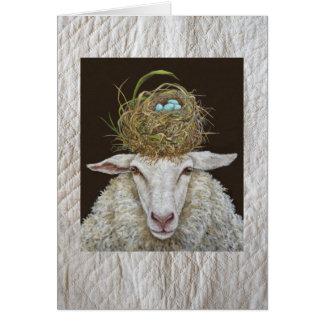 Judith la tarjeta de las ovejas en fondo acolchado