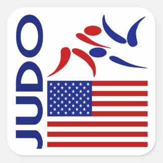 Judo Estados Unidos Calcomania Cuadradas