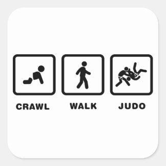 Judo Calcomania Cuadradas Personalizada