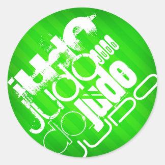 Judo; Rayas verdes de neón Pegatina Redonda