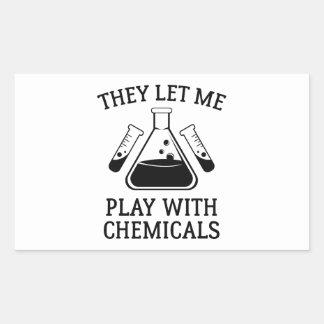 Juego con las sustancias químicas pegatina rectangular