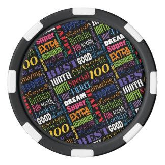 Juego De Fichas De Póquer 100o monograma personalizado de la fiesta de