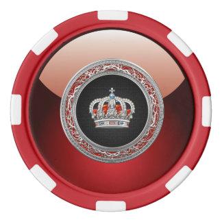 Juego De Fichas De Póquer [400] Príncipe-Princesa Rey-Reina Crown [plata]