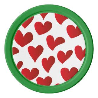 Juego De Fichas De Póquer Amor rojo pintado modelo del corazón del ejemplo