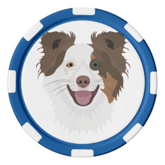 Juego De Fichas De Póquer Border collie feliz de la cara de los perros del
