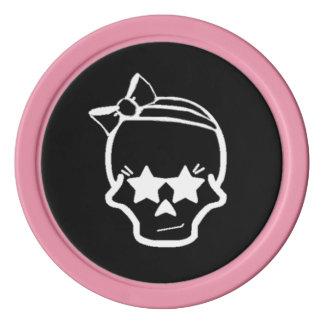 Juego De Fichas De Póquer Cráneo femenino blanco con una línea arte del arco