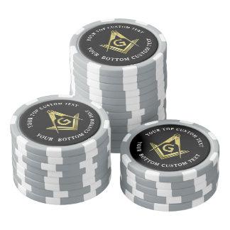 Juego De Fichas De Póquer Cuadrado y compás masónicos de encargo de las