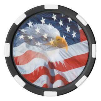 Juego De Fichas De Póquer Eagle calvo patriótico sobre la bandera americana