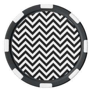 Juego De Fichas De Póquer El zigzag blanco y negro raya el modelo de Chevron