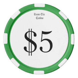 Juego De Fichas De Póquer Equipo seis (dinero divertido del casino) moneda