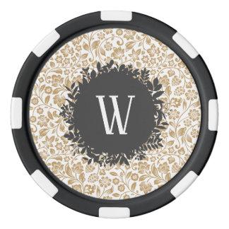 Juego De Fichas De Póquer Estampado de flores del oro con el monograma gris
