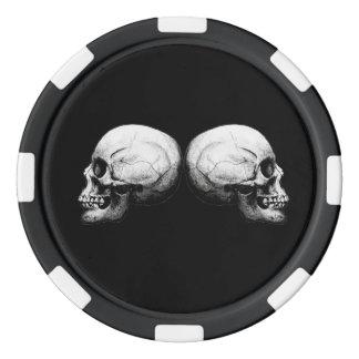 Juego De Fichas De Póquer Huesos protectores blancos y negros del cráneo X4