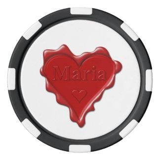 Juego De Fichas De Póquer Maria. Sello rojo de la cera del corazón con Maria
