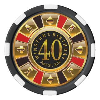 Juego De Fichas De Póquer Microprocesador del casino de Winston Vegas rojo y
