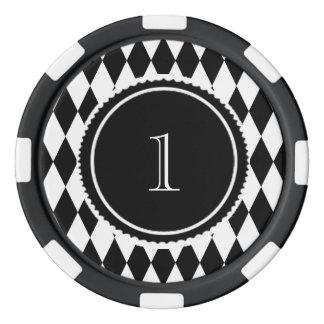 Juego De Fichas De Póquer modelo blanco y negro del diamante del harlequin