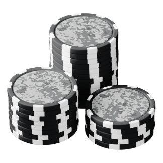 Juego De Fichas De Póquer Modelo gris urbano de Camo del pixel