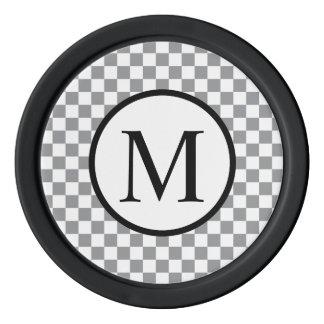 Juego De Fichas De Póquer Monograma simple con el tablero de damas gris