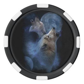 Juego De Fichas De Póquer Montaña de la luna del lobo de la fantasía