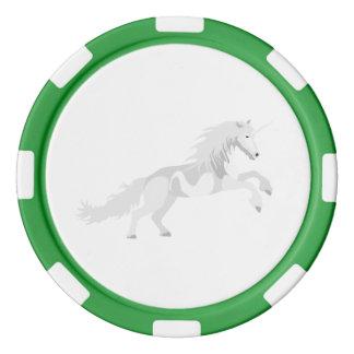 Juego De Fichas De Póquer Unicornio del blanco del ejemplo