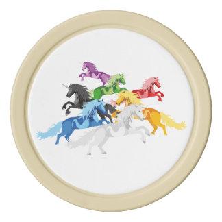 Juego De Fichas De Póquer Unicornios salvajes coloridos del ejemplo