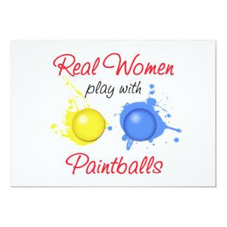 Juego de las mujeres reales con Paintballs Invitación 12,7 X 17,8 Cm
