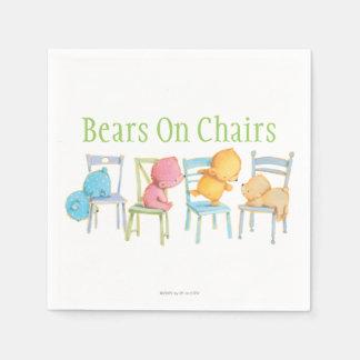Juego de los osos azules, rosados, amarillos, y de servilletas de papel