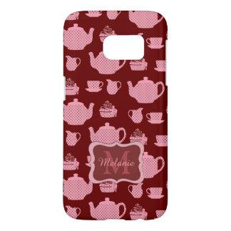 Juego de té rosado del lunar en Borgoña Funda Samsung Galaxy S7