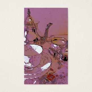 Juego de té rosado y de plata tarjeta de negocios