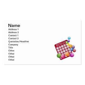 Juego del bingo tarjetas de visita
