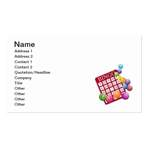 Juego del bingo tarjeta personal