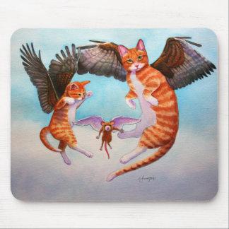Juego del gato y del ratón del ángel alfombrilla de ratón