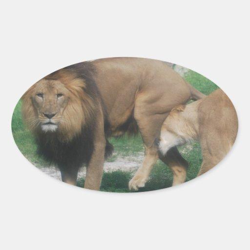 Juego del león calcomanías de ovales personalizadas