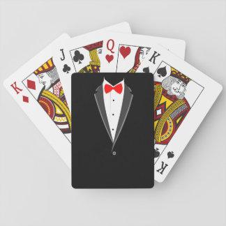 juego elegante del negro del smoking del traje que cartas de póquer