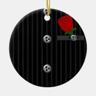 Juego gris negro de la tela a rayas de los novios  adorno de navidad
