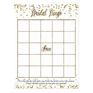 Juego nupcial de la ducha del bingo del confeti postal